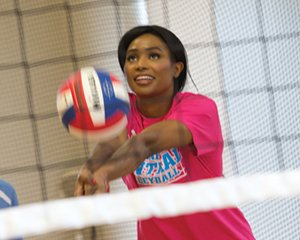 While in the Quad Cities, the two-time NCAA Division I All-American in volleyball for UCLA visited with and tested her volleyball skills against members of the Davenport Central High School team.